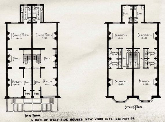 Brownstone row houses west side new york usa 1893 for Victorian row house plans