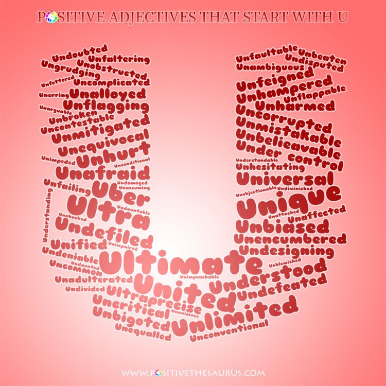 Ultimate list of positive adjectives starting with U wordcloud