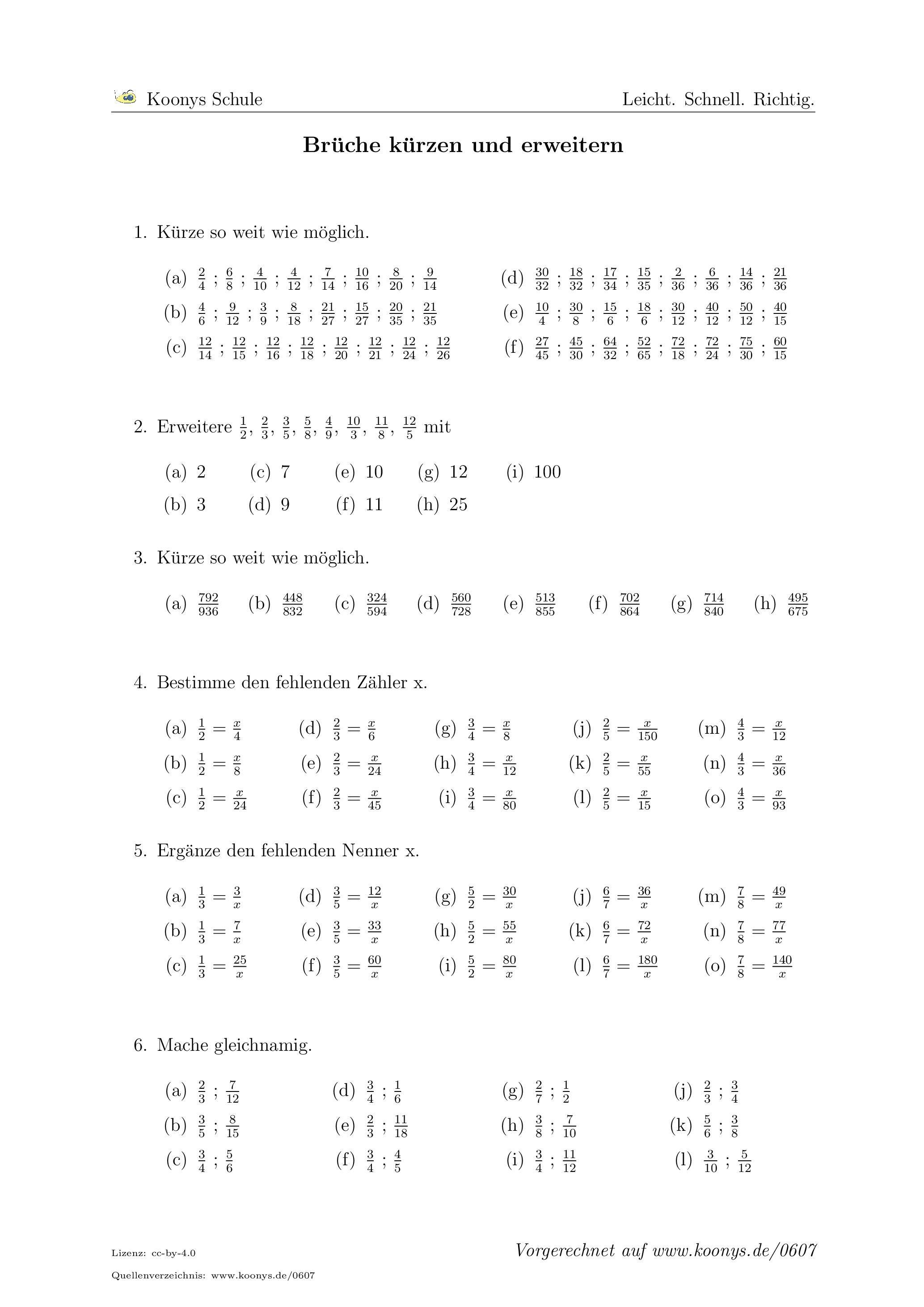 Brüche kürzen und erweitern | Arbeitsblatt #0607 | Mathe | Pinterest ...