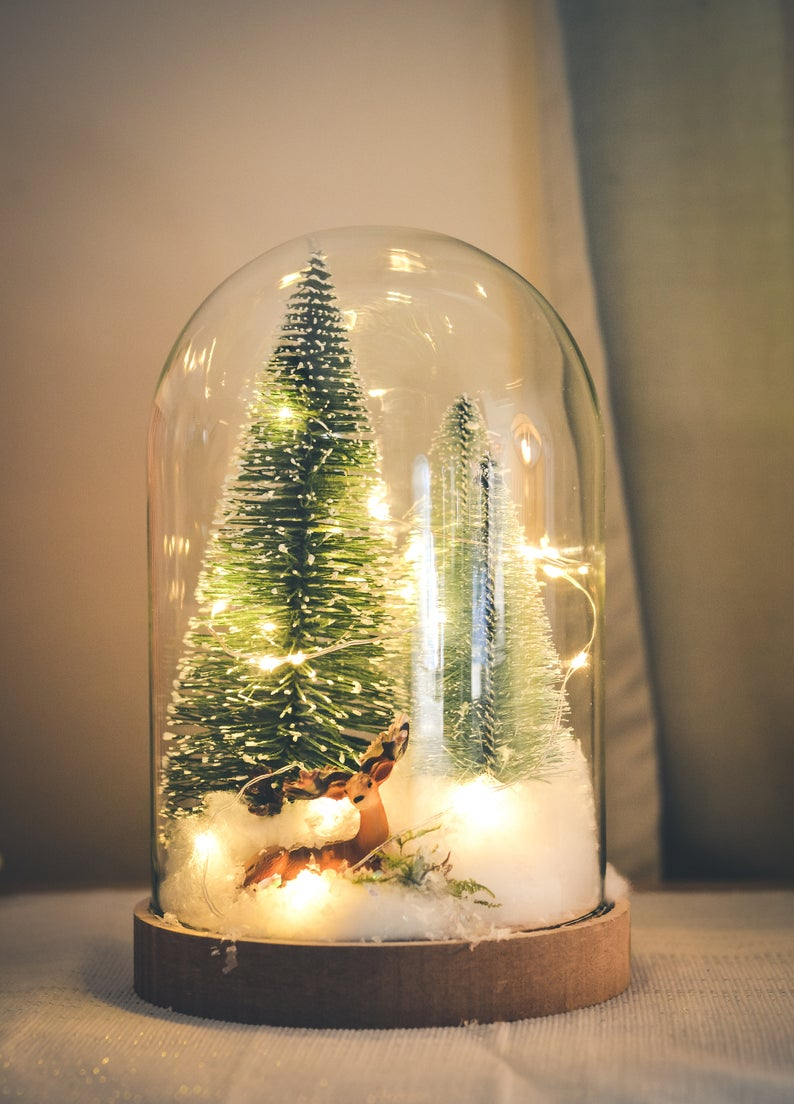 Christmas Terrarium Kit Glass Dome With Fairy Lights Etsy Decorating With Christmas Lights Fairy Lights Christmas Decorations