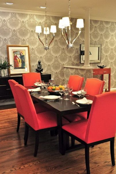 Dining Room Furniture with Red Dining Chairs | Dining room ...