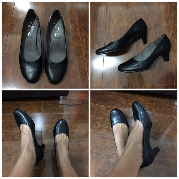 aerosoles black heels Gently worn once for a job interview. No damage. 2 1/2 inch heel. Plush linings & suede foot beds hug your feet in softness. Extra cushioned insoles. AEROSOLES Shoes Heels