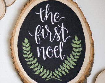Joy to the World Chalkboard Wood Slice Christmas by HeartcraftedCo