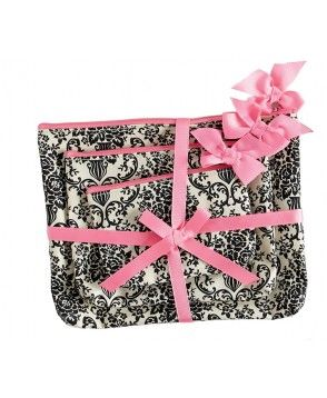 Cream and Black Bouquet Damask 3 Piece Cosmetic Bag gift set - pink accents!