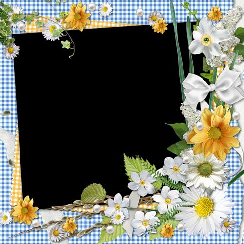 cadres fleurs tatakiki spring flower corner on blue gingham border frames borders corner. Black Bedroom Furniture Sets. Home Design Ideas
