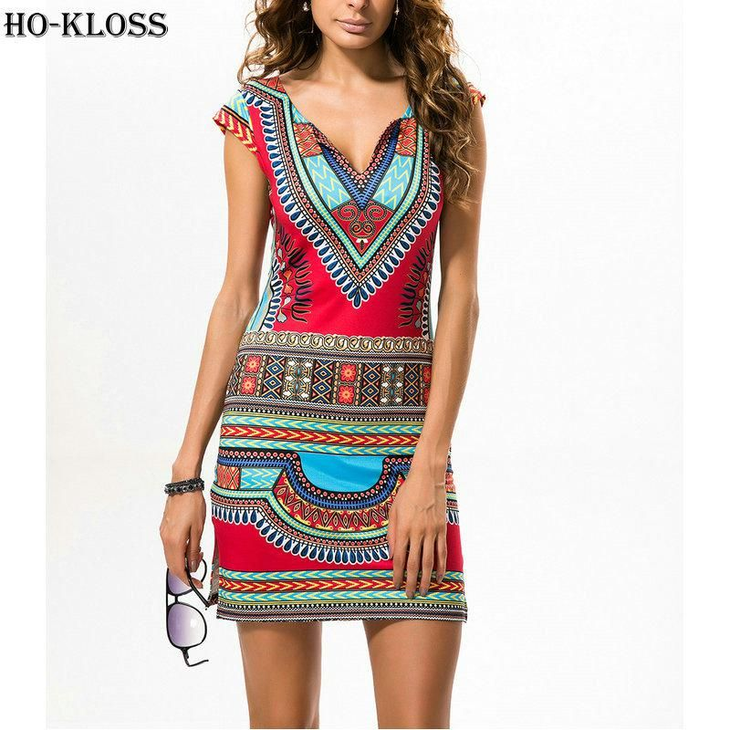 ea5cb49671 Ethnic Dresses XL Women 2018 Indian Summer Dress Sexy V-neck Printed ...