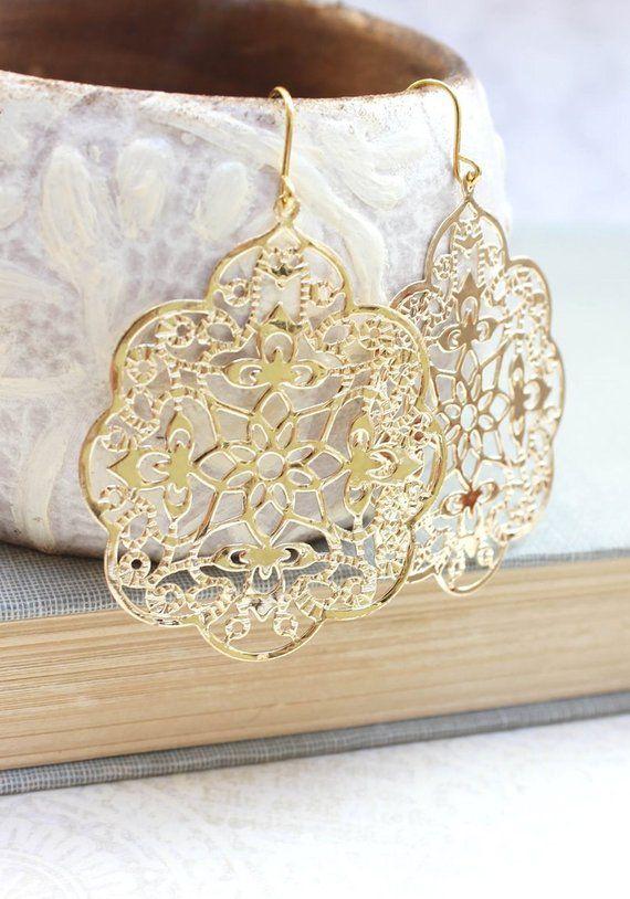 27f72905665b Big Gold Earrings Lace Filigree Earrings Large Dangle Spanish Style Boho  Chic Gold Bridal Jewelry Br