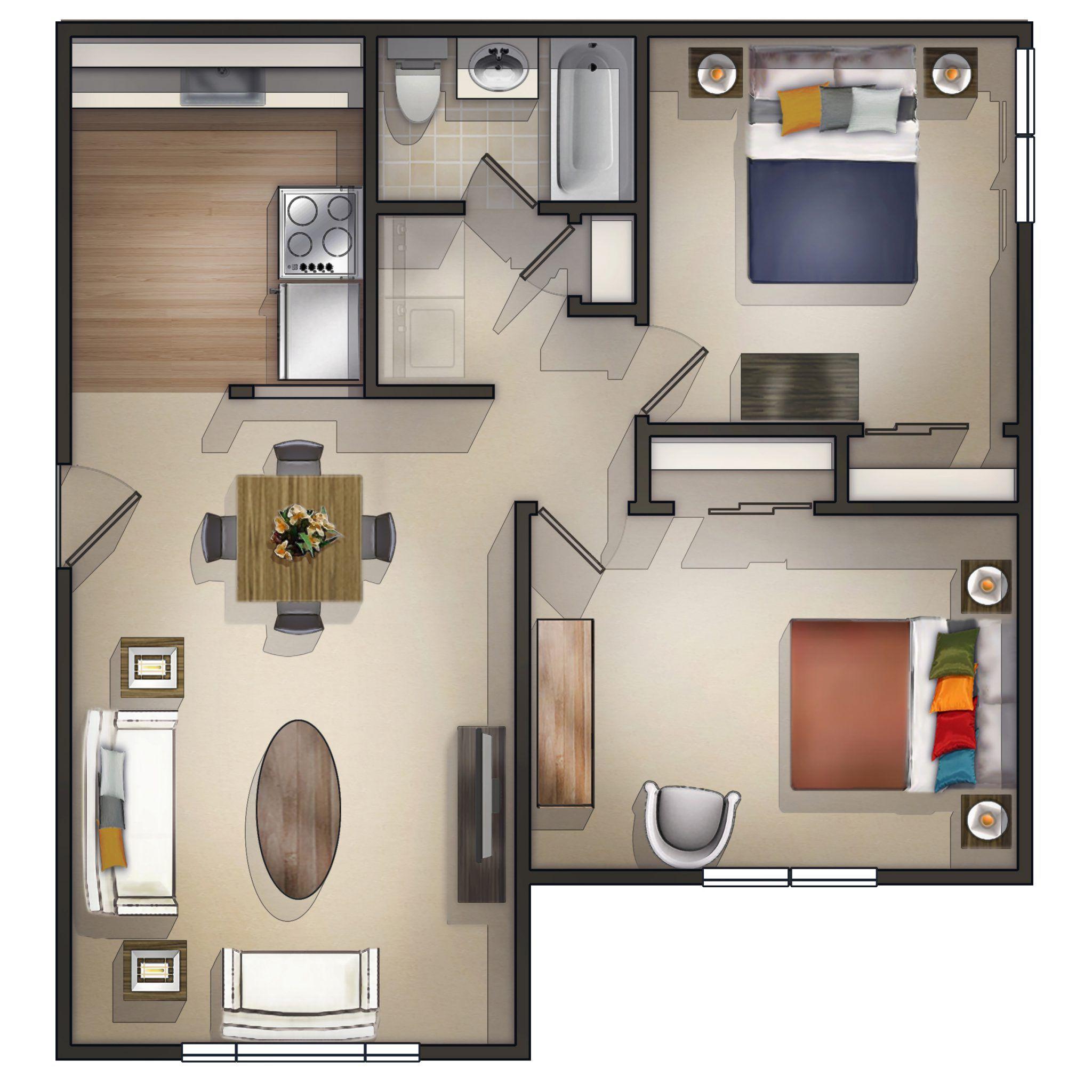17 Zwei Schlafzimmer Apartment Pläne, spektakuläre