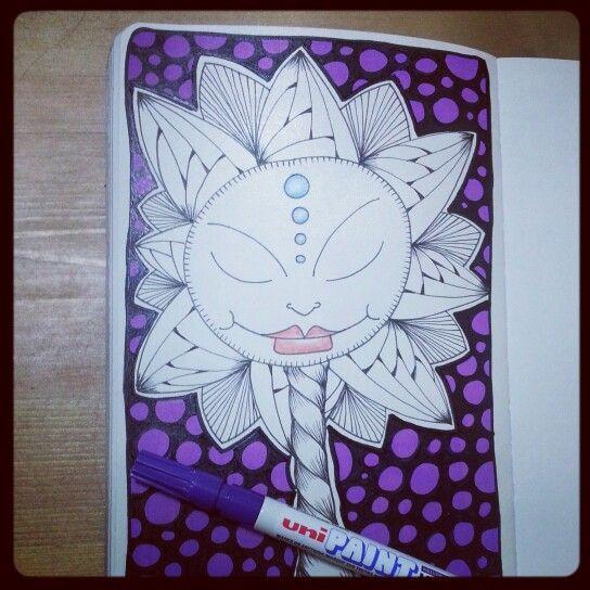 Http://timelessrituals.blogspot.com #moleskine #zentangle #zendoodle #tangle #doodle #flower #artjournal #face