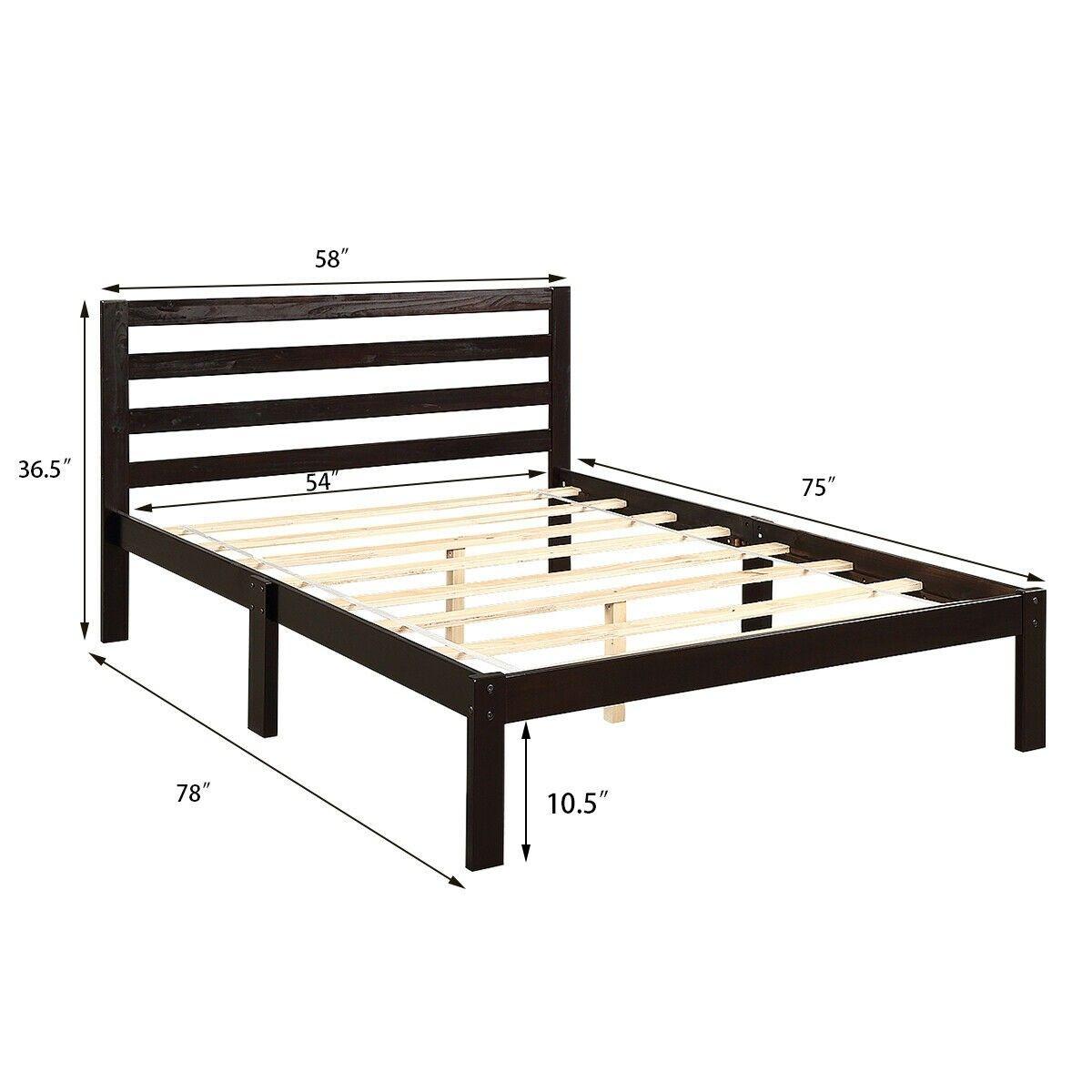Platform Bed Full Size Bed Frame Wood Slat Support Wood Bed