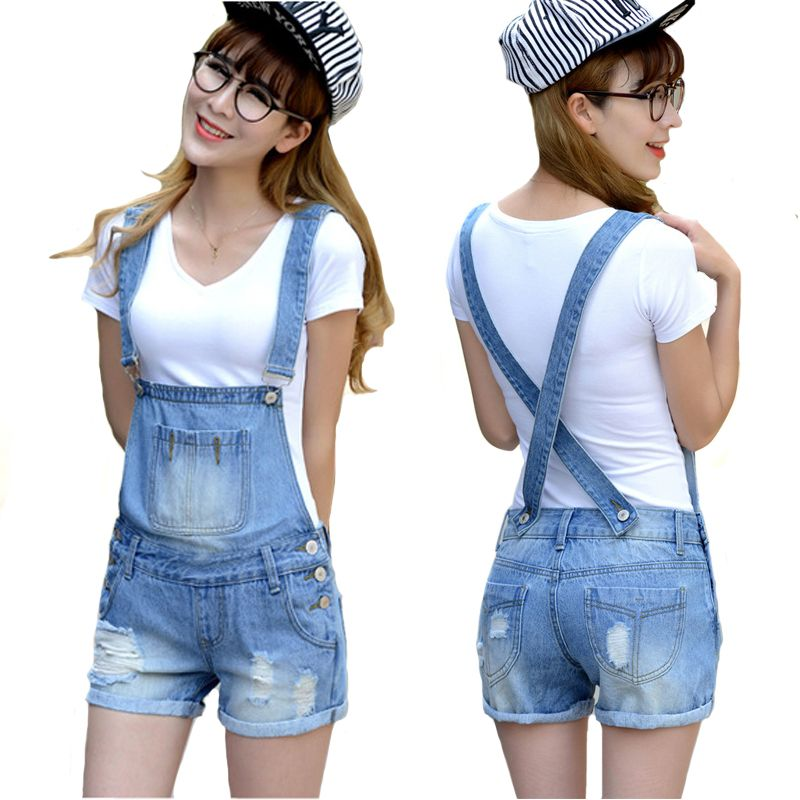 d4695eb9e058 Distressed Washed Hole Denim Jumpsuit Romper For Women Denim Coverall  Playsuit Short Jeans Female Jeans Overalls Catsuit