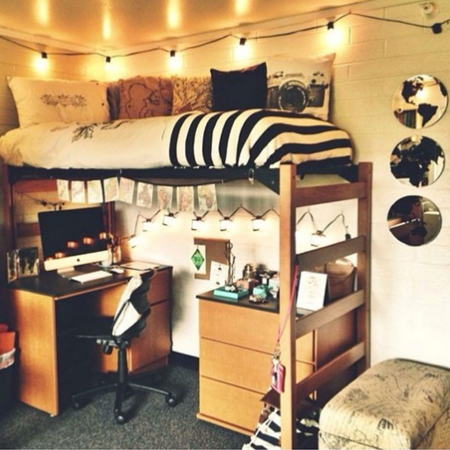 College Dorm Decorating Ideas With Desk And Light Also Drawers