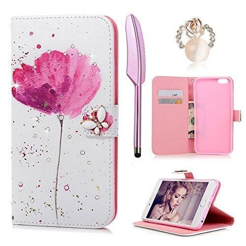 """iPhone 6S Plus / 6 Plus Case (5.5"""")- (NOT FOR iPhone 6 6S) MOLLYCOOCLE Stand Wallet Premium PU Leather Bling Diamond Butterfly Magnetic Hand Wrist Strap TPU Bumper Cover Case for iPhone 6S Plus/6 Plus"""