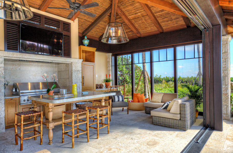 tropical patio outdoor kitchens Tropical Style Outdoor Kitchen :: Enclosed, but opens to