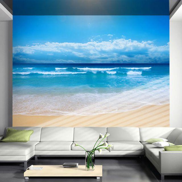 Sunny Beach Wallpaper 3D Photo Wallpaper Natural Scenery Wall Mural Kid Art  Room Decor Club Bar