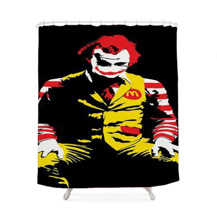 The Joker Ronald Mcdonald Batman Shower Curtain Street Art Graffiti Banksy Stencil