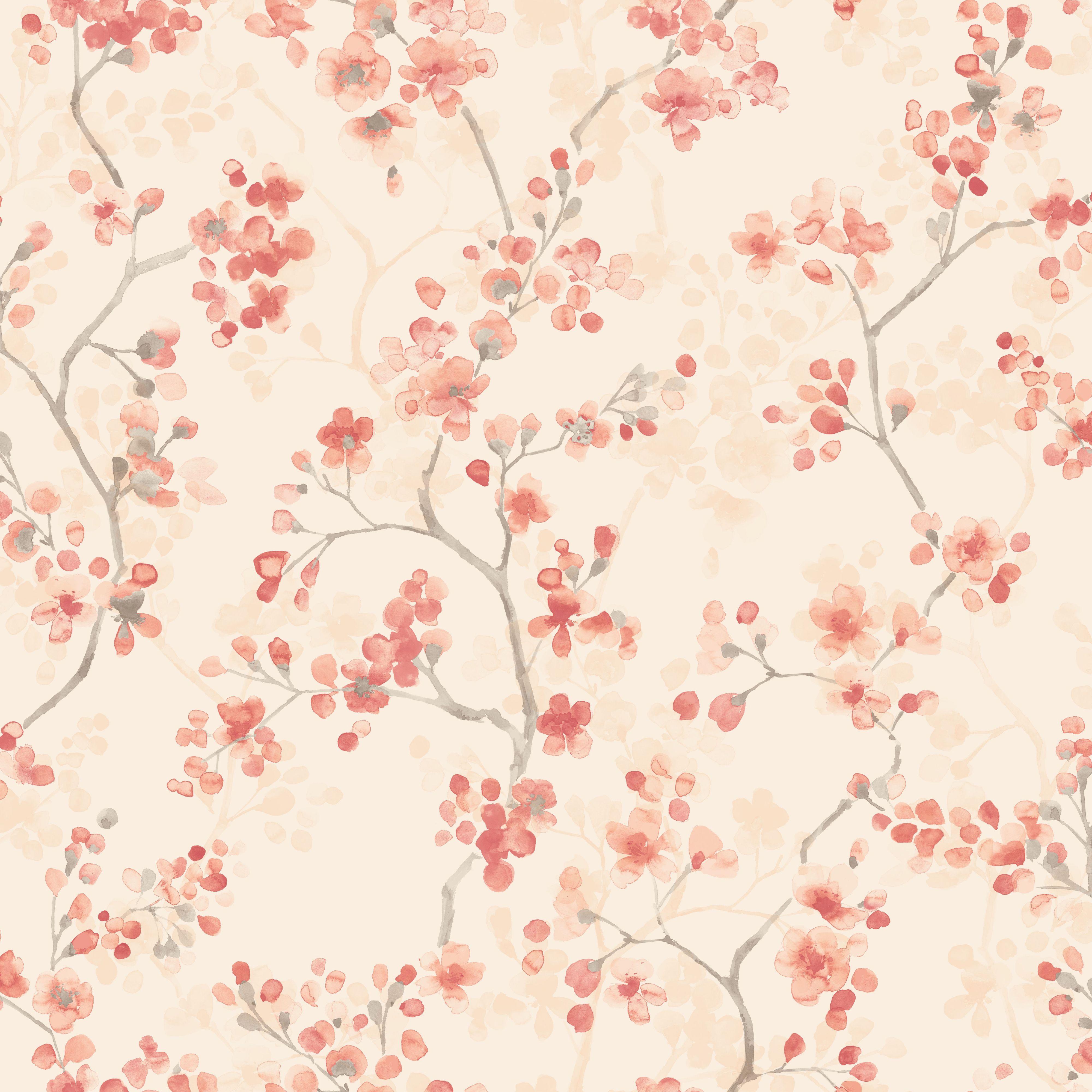 Karina Orange Floral Wallpaper Departments DIY At BQ