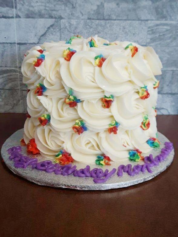 White And Rainbow Birthday Smash Cake From Cupcasions In Kelowna