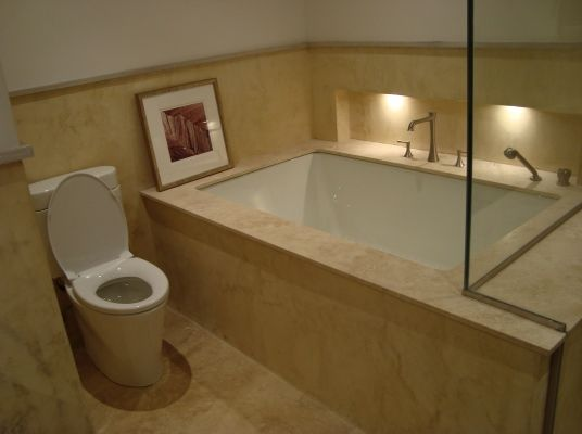 Hand trowelled surfaces to match marble floor tiles including fully ...