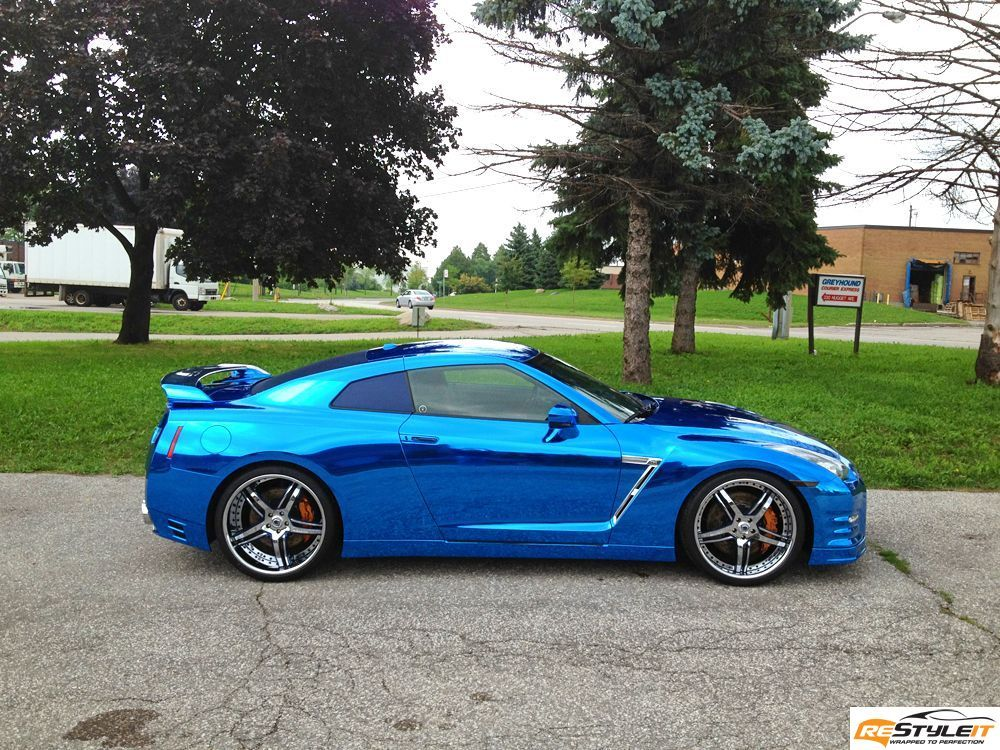 Nissan Gtr Blue Chrome Wrap Vinyl Car Wrap Car Wraps In Toronto Montreal Fort Lauderdale Restyleit Ca Nissan Gtr Nissan Cars Gtr