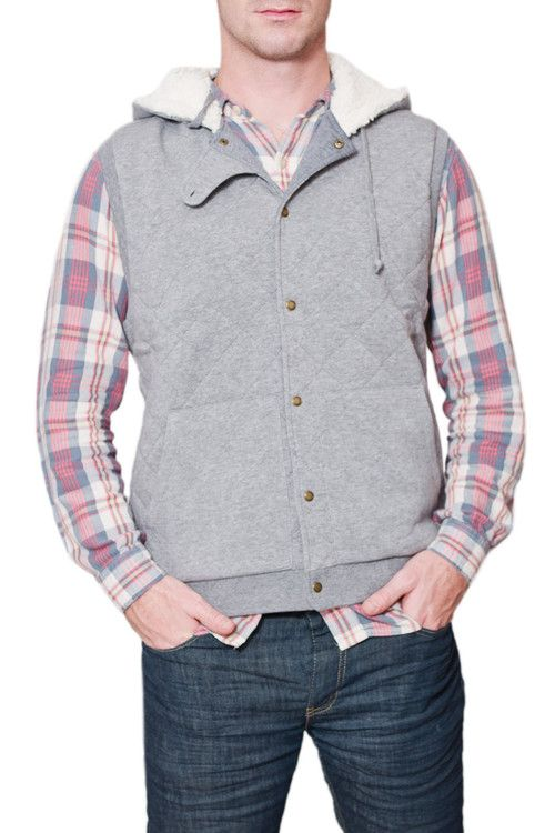 An exceptionally soft and comfortable plaid quilted fleece hooded vest for your man this Fall
