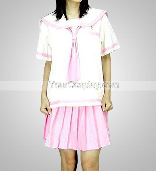 Cheap White And Pink School Uniform, Japanese School Uniforms, Cosplay Costumes