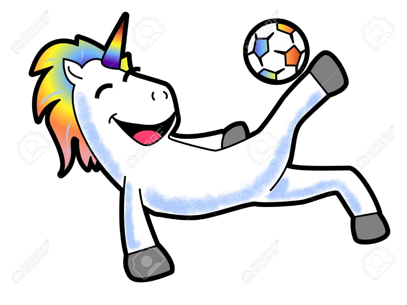 A Cartoon Of A Unicorn Kicking A Soccer Ball Ad Unicorn Cartoon Kicking Ball Soccer Futbol
