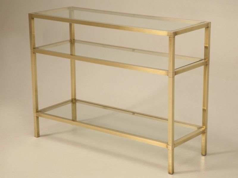 French Modern 3 Level Brass U0026 Glass Console Table For Sale