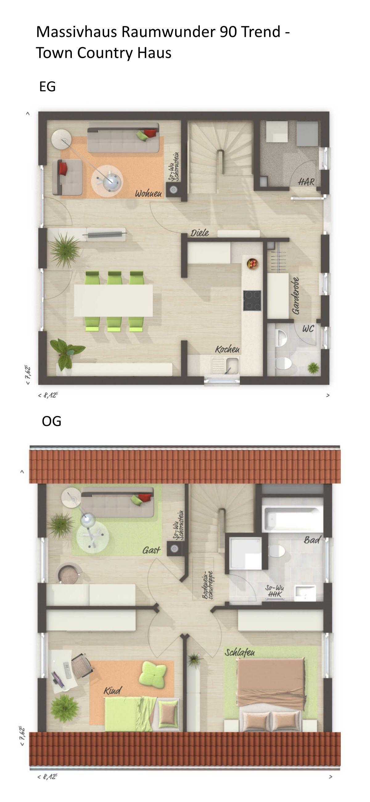 Grundriss Einfamilienhaus klassisch mit Satteldach
