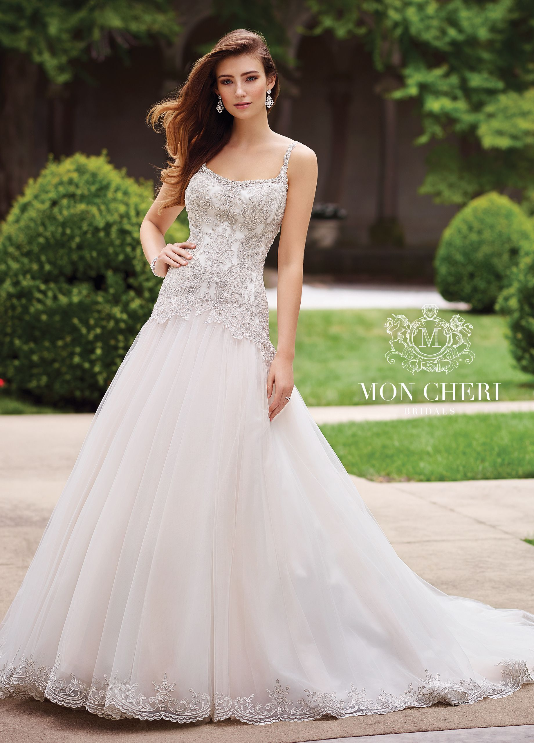 Wedding dress patterns with sleeves  Metallic Lace u Tulle ALine Wedding Dress  Carmelina