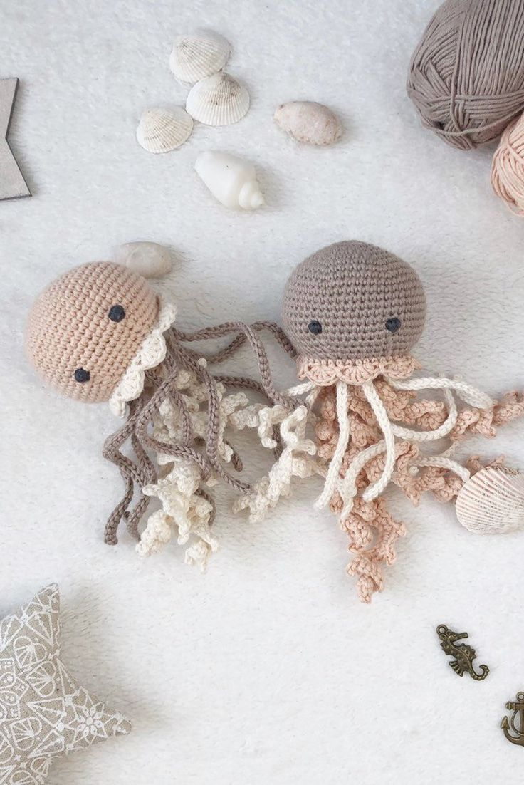 Plush jellyfish as a new baby Easter gift, Crochet toy for preemie, Crochet toy for newborn
