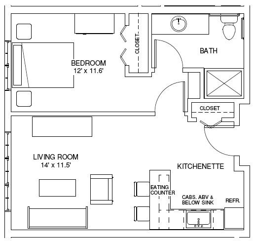 One bedroom house plans one bedroom floorplans find for Small one bedroom apartment floor plans