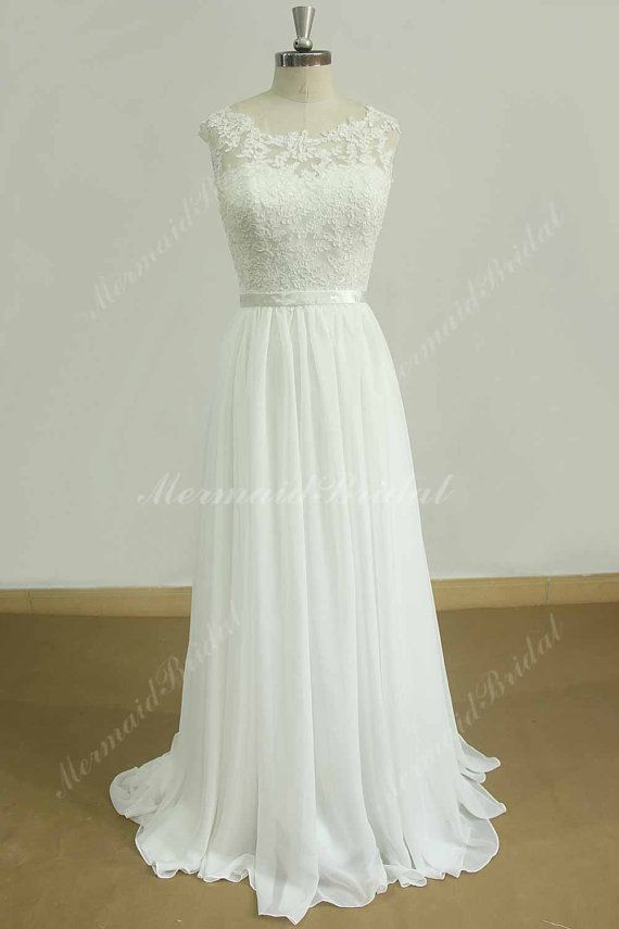 Stunning open back A line chiffon lace beach wedding dress with ...