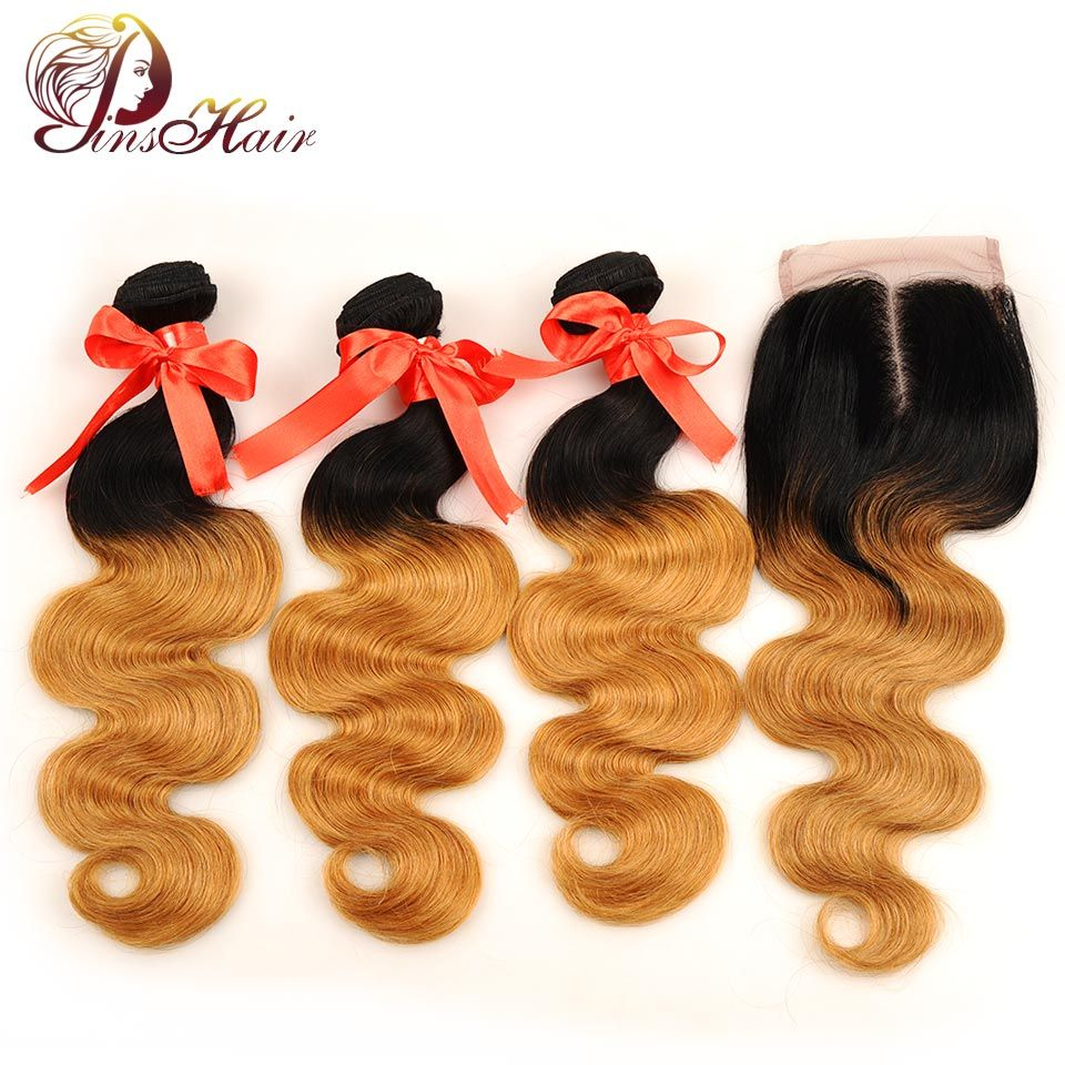 Pinshair Pre Colored Brazilian Hair Weave Bundles With Closure Ombre