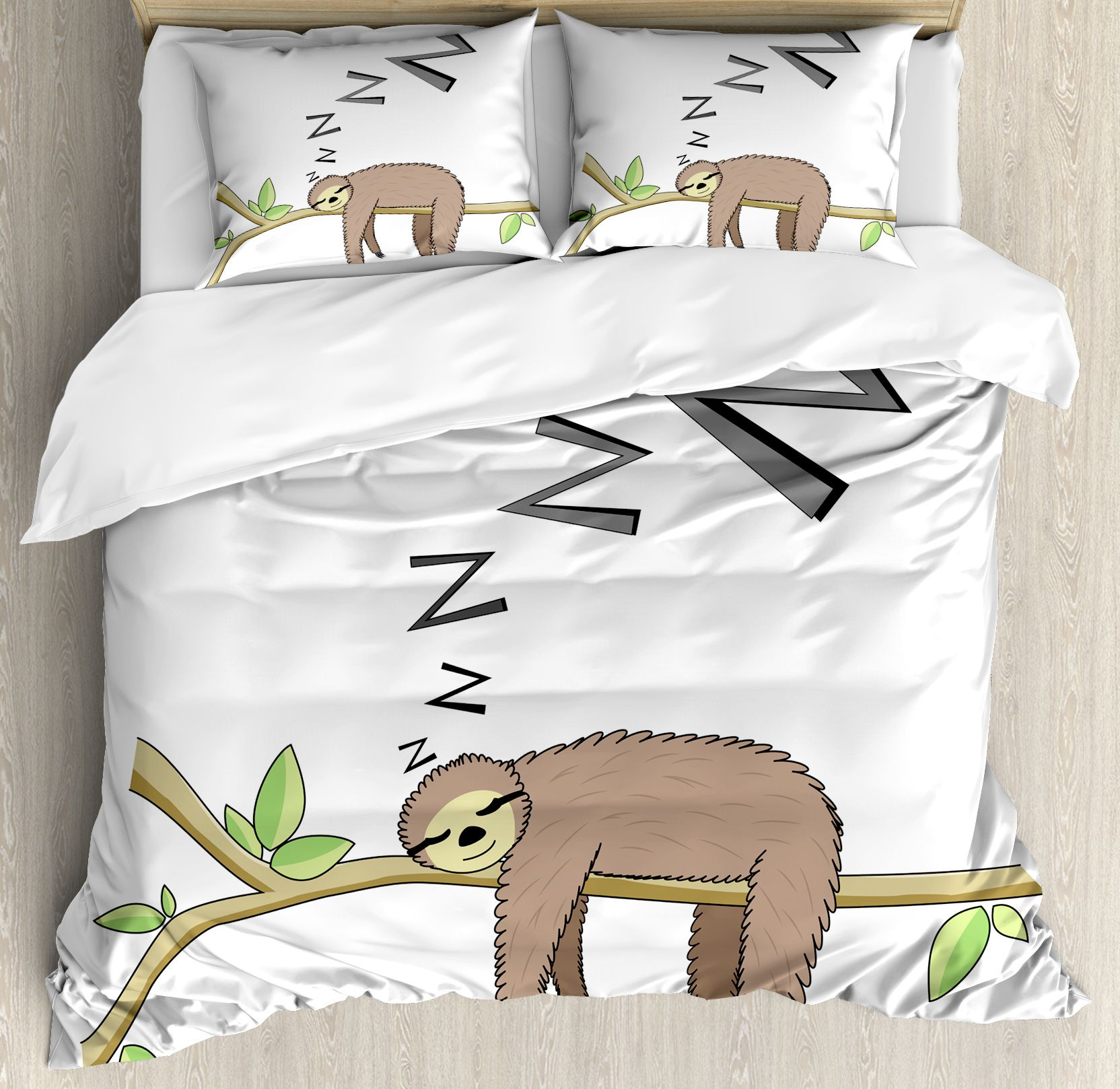 Sloth Queen Size Duvet Cover Set Arboreal Mammal Sleeping On