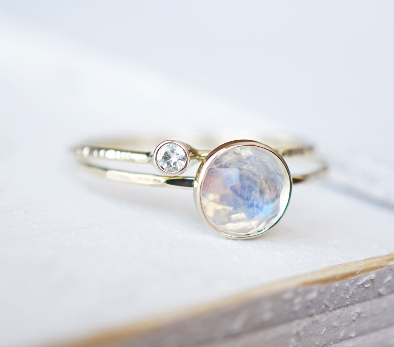 Rainbow Moonstone Ring Set Moissanite Ring Set Diamond Ring