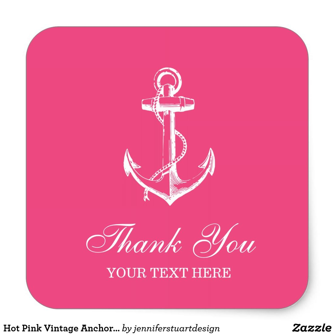 Hot Pink Vintage Anchor Thank You Favor Square Sticker | Wedding ...