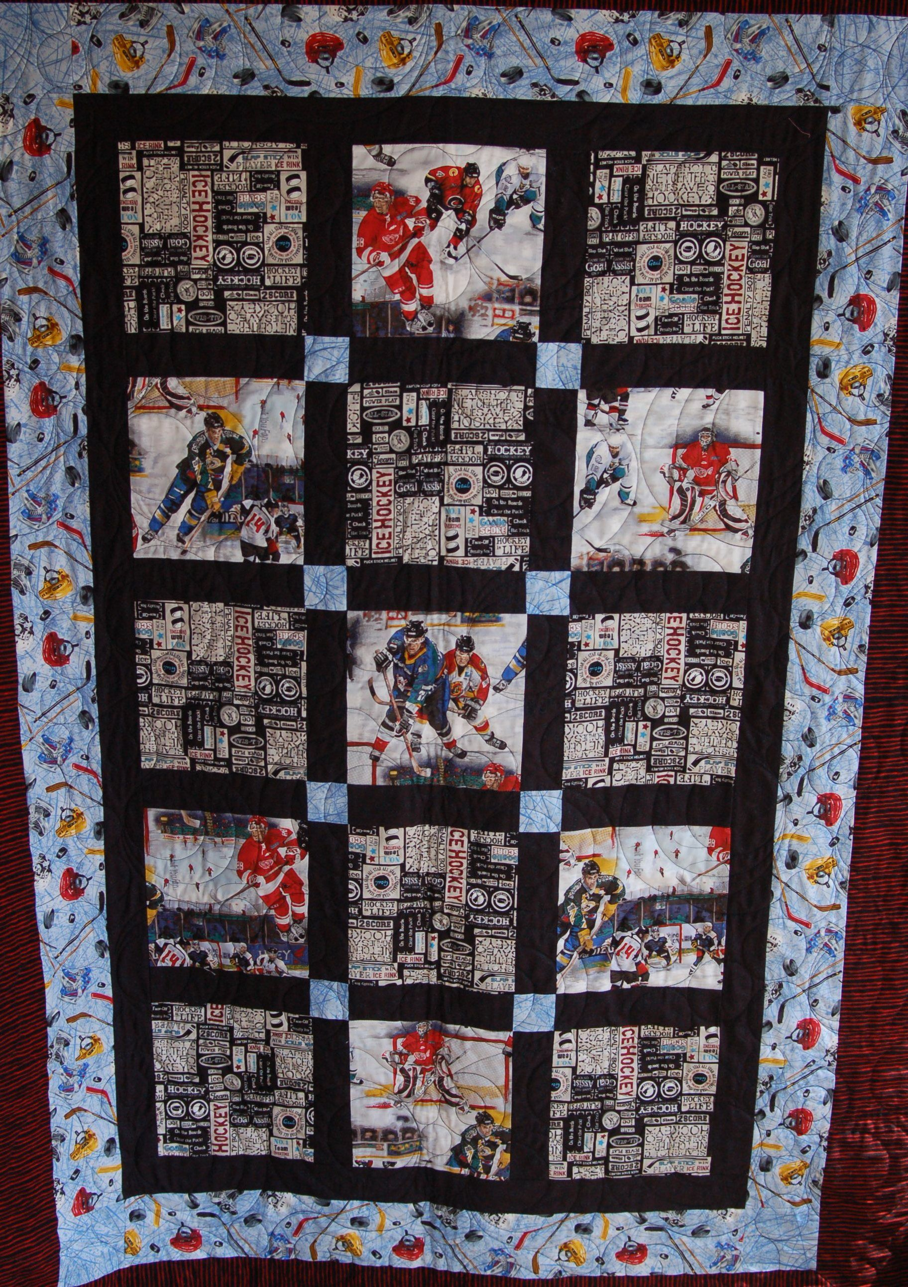 Quilt Patterns For Sports : Hockey Quilt Deb Gervais Creations Pinterest Hockey, Patterns and Sewing projects