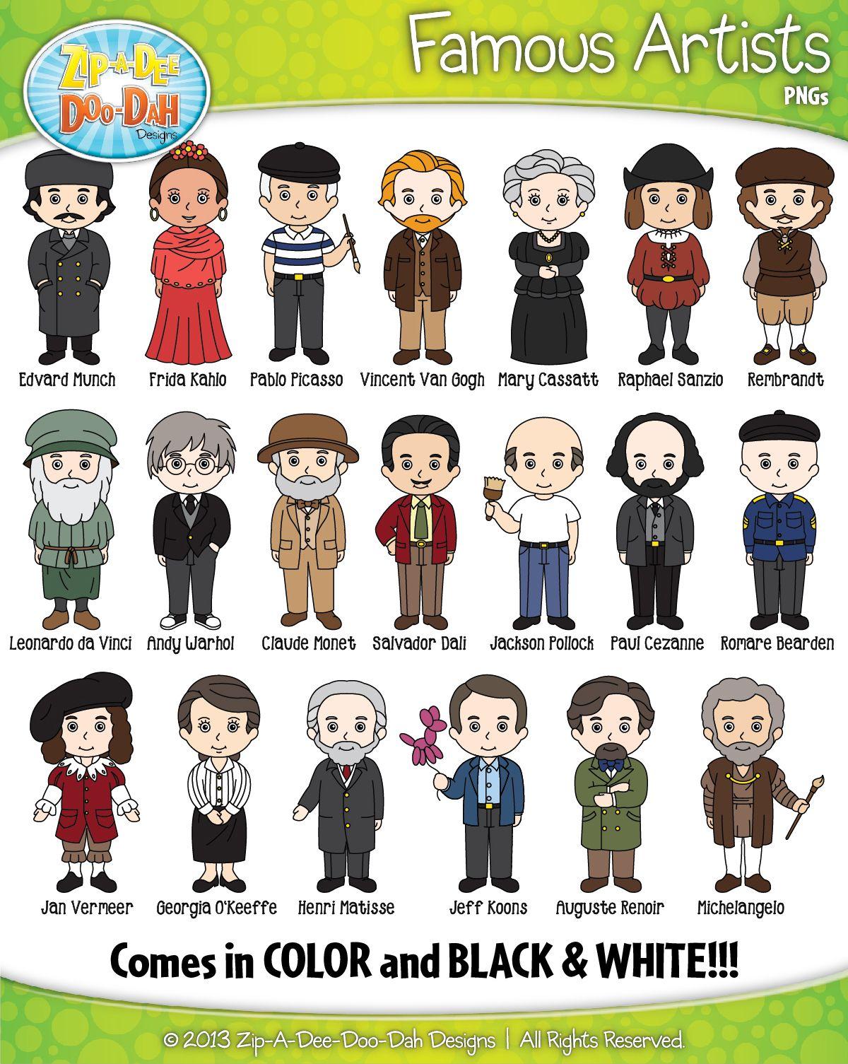Famous Artist Characters Clip Art Bundle Pack Includes 20 Characters Famous Artists Famous Artist Names Clip Art