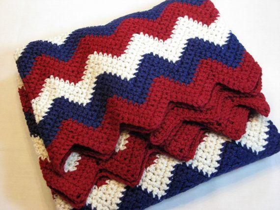 Crocheted Chevron Lap Blanket Afghan Throw Coverlet Red White