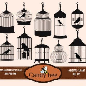 Birds And Birdcage Clipart Greay Set Of 10 Bird Cages Download Silhouette Clip Art Digital Clip Art Clip Art