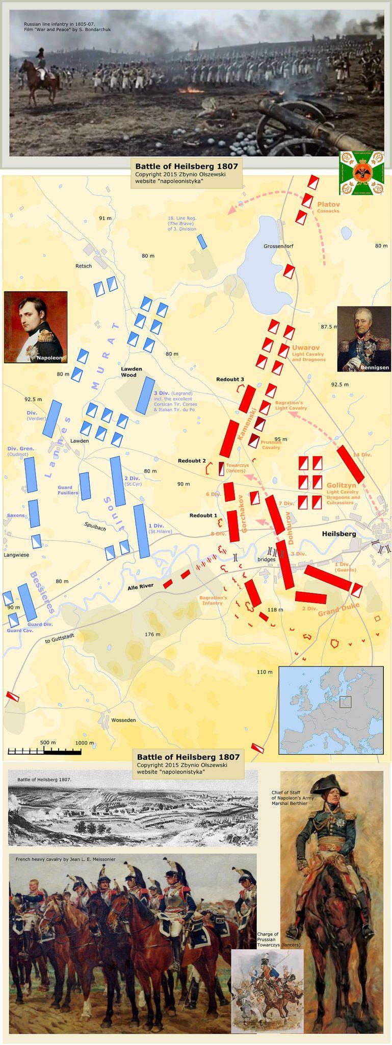 Article and more maps here mapswar2x10hostcomBattleofHeilsberg1807htm