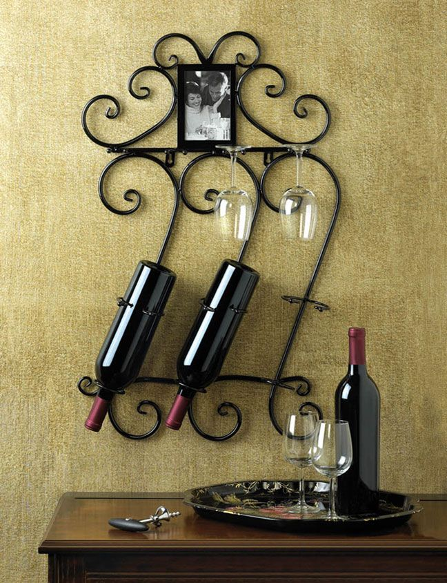 Black Wrought Iron Wine Bottle Wall Rack With Photo Frame Home