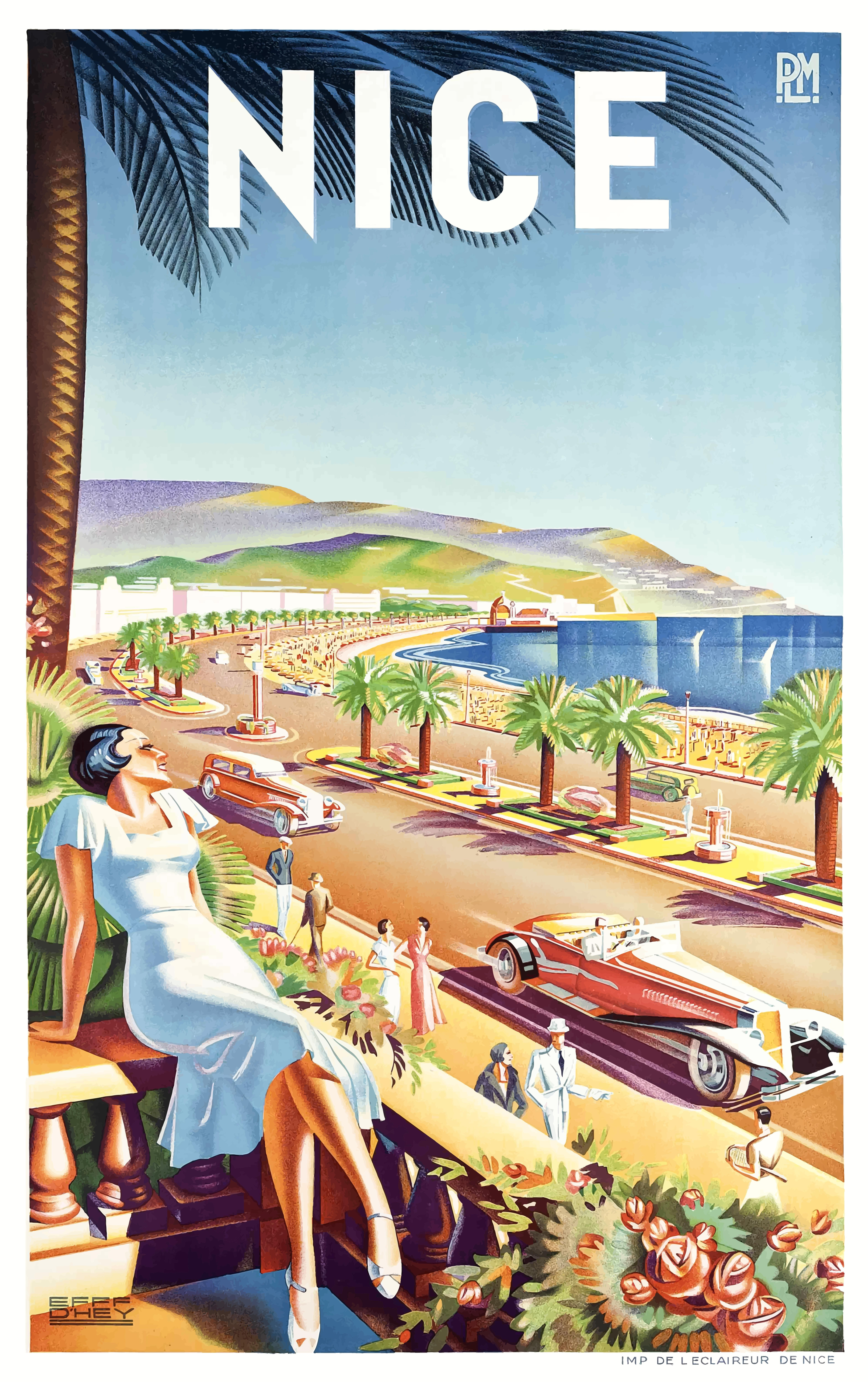 1935 Nice France Travel Poster By Retro Graphics In 2020 Retro Travel Poster Travel Posters Art Deco Travel Posters