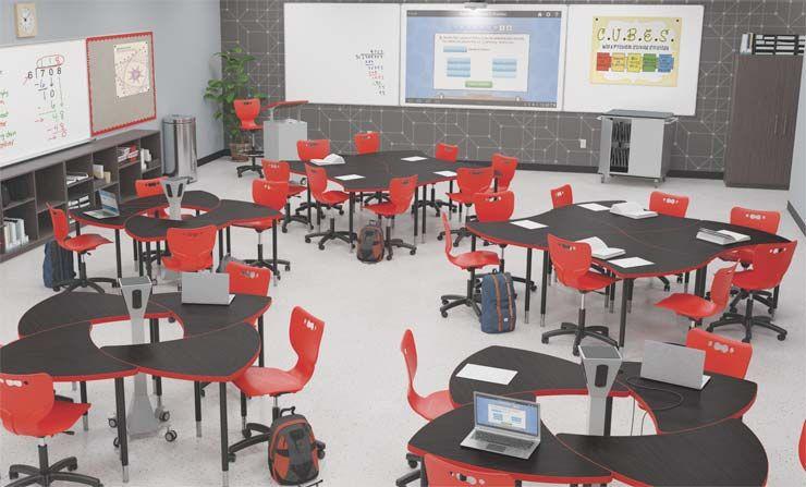 Quad Collaborative Student Desk Large Chevron Desk
