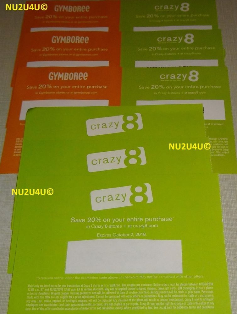 image regarding Crazy8 Printable Coupons referred to as Large amount 3X GYMBOREE + 6X Mad 8 20% OFF COUPON *** United states of america Simply just
