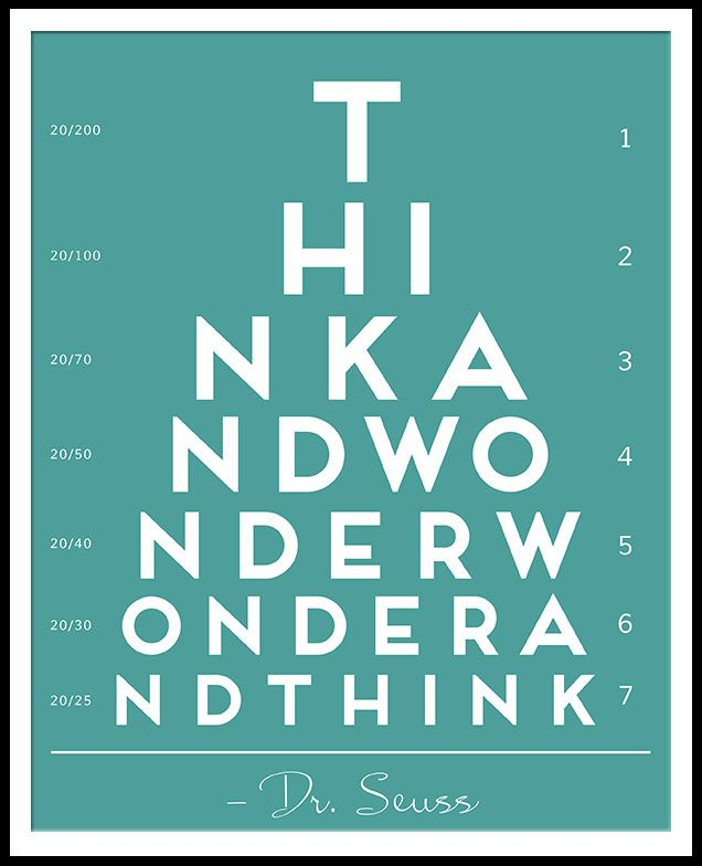 Free Dr Seuss Printable Eye Chart Oh The Thinks You Can Think Kid