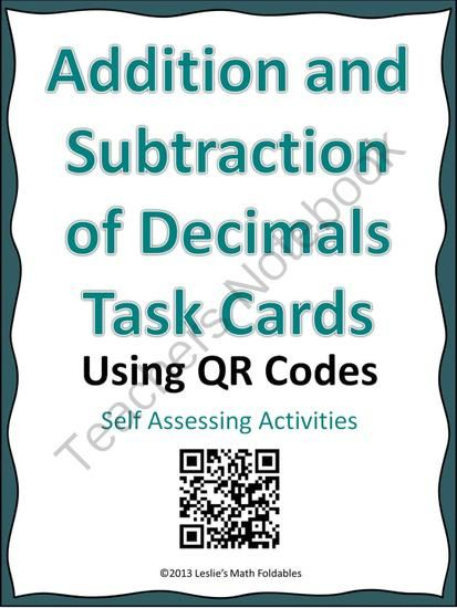 Addition and Subtraction of Decimals QR Code Task Cards | Qr codes ...