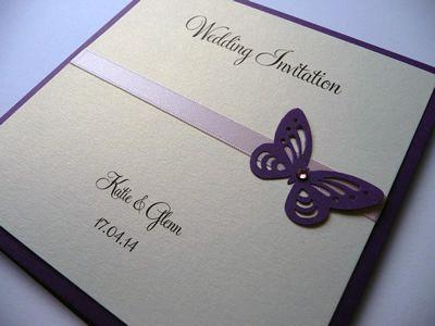 purple pocketcard wedding invitation with lilac ribbon and a