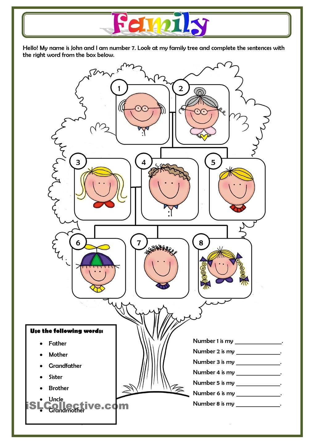 FAMILY | Kids English | Family worksheet, Spanish worksheets ...